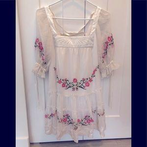 Bebe Silk floral embroidered mini dress